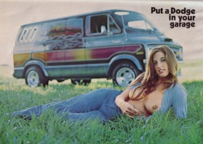 woman with bare breasts in a Dodge van advertisement