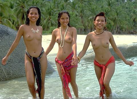 pretty bare-breasted island girls