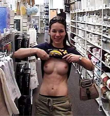 flashing bare boobs in a store