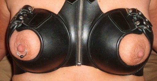 leather titty bra
