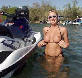 bare boobs at the personal watercraft marina