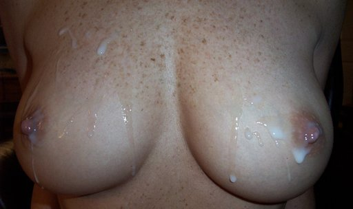 fresh jizz on freckled titties