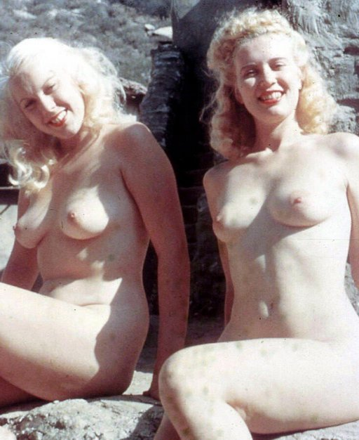 blondes with pale tits in weak winter sunshine