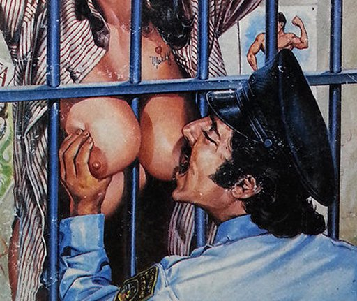 playing with the prisoner's tits through the bars of her cell